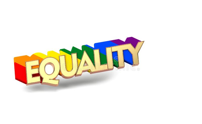 Golden EQUALITY word with rainbow outline. LGBT equality symbol concept. Isolated on white background with copy space. 3D. Render vector illustration