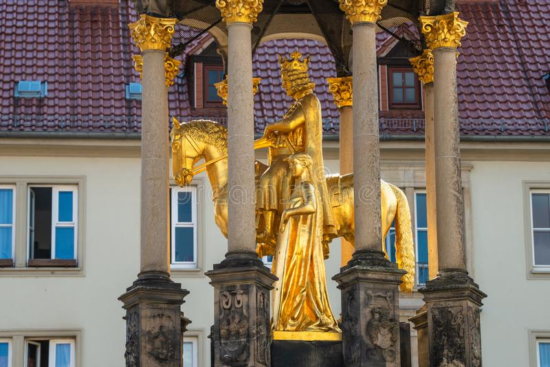 Golden Equestrian statue of Magdeburger Reiter, King and Knight, Magdeburg, Germany,. Closeup, details royalty free stock photo
