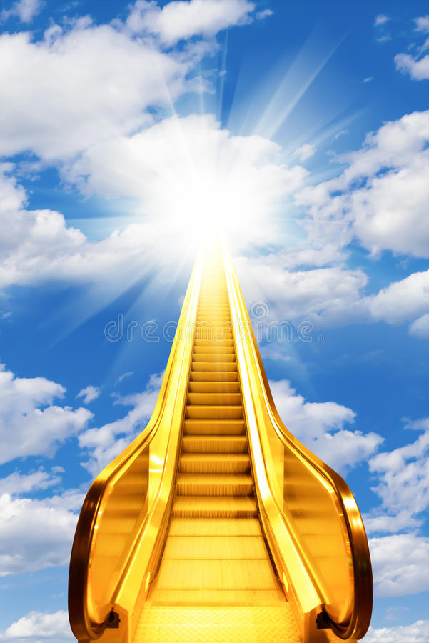Golden escalator stairs to the shine in sky royalty free stock image