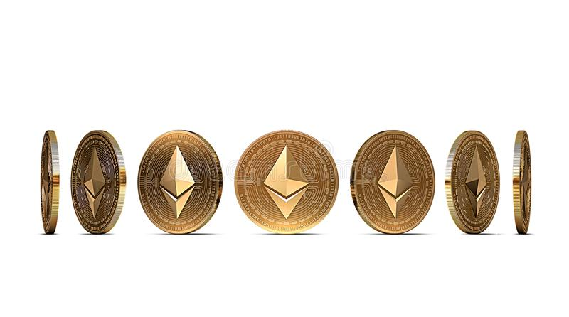 Golden Ethereum coin shown from seven angles isolated on white background. Easy to cut out and use particular coin angle. 3D rendering stock illustration