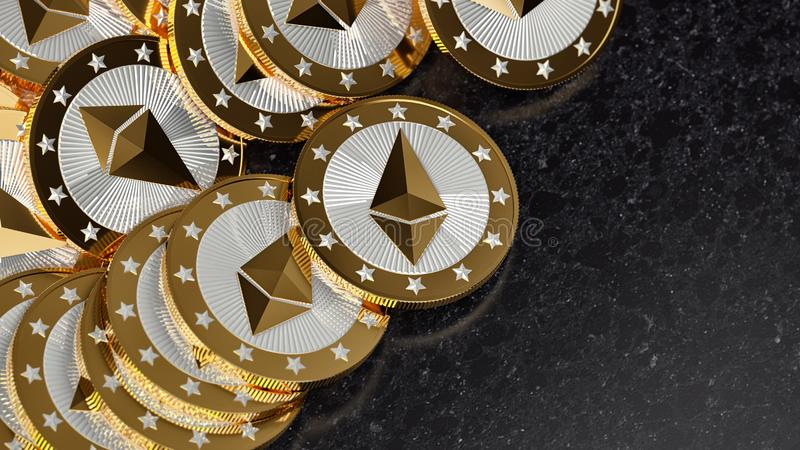 Golden Ethereum coins - Crypto currency coins on marble surface stock illustration