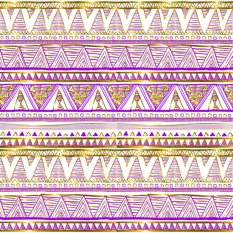 Golden ethnic seamless pattern. Tribal motifs. Black, pink and gold colors on a white background. Geometric abstraction. Cute vector illustration