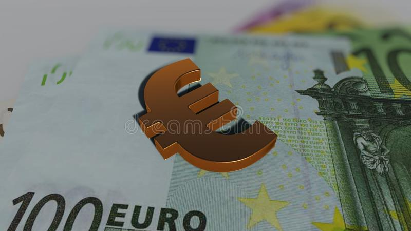 Golden Euro on banknotes stock illustration