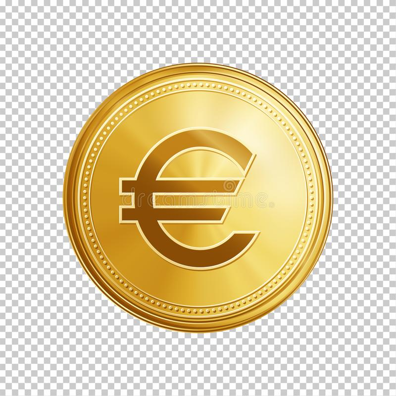 Golden Euro Coin Symbol Stock Vector Illustration Of Finance