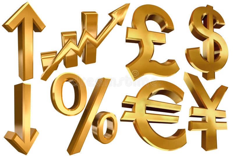 Golden euro dollar pound yen arrow vector illustration