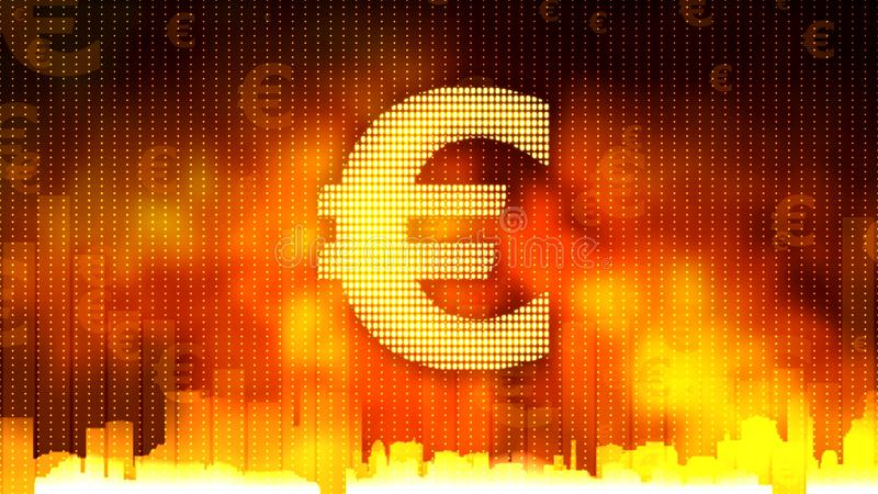 Golden euro sign on fiery background, money rules the world, financial market. Stock footage stock photos