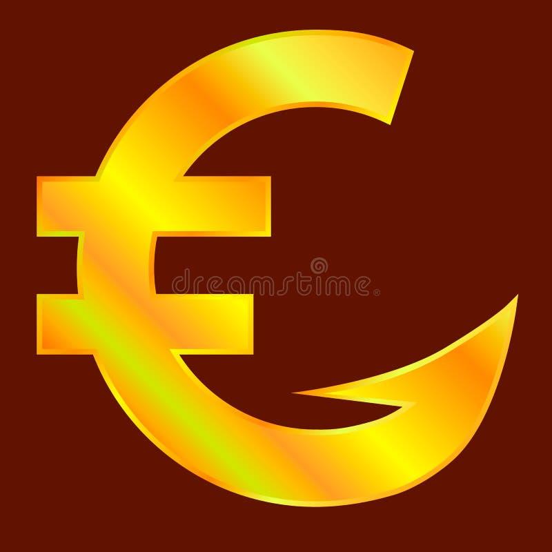 Golden euro sign. With hook. Vector illustration royalty free illustration