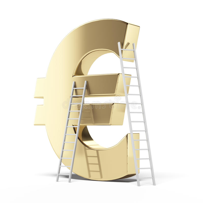 Download Golden Euro Sign With Ladders Stock Illustration - Image: 41377621