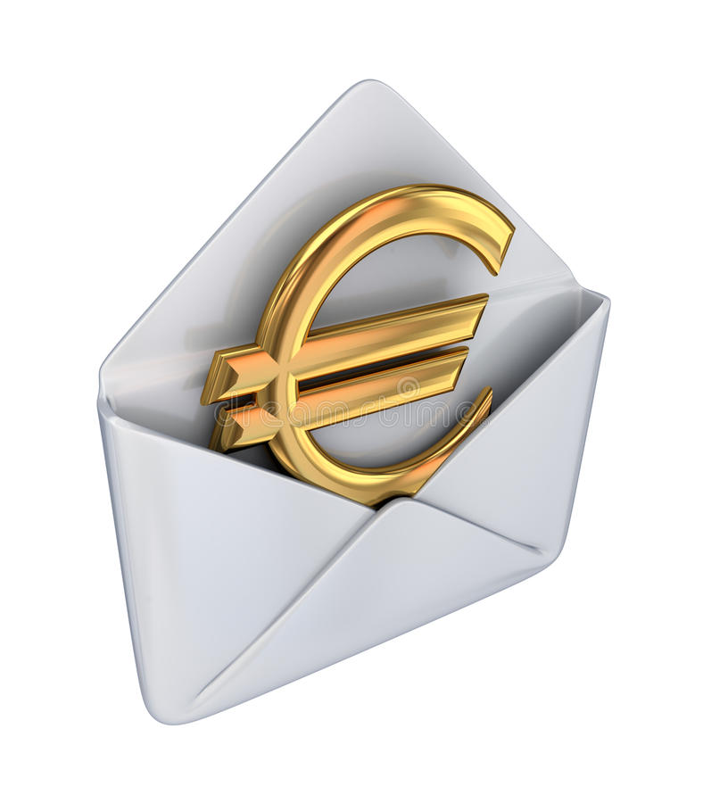 Golden euro sign in a white envelope. royalty free illustration
