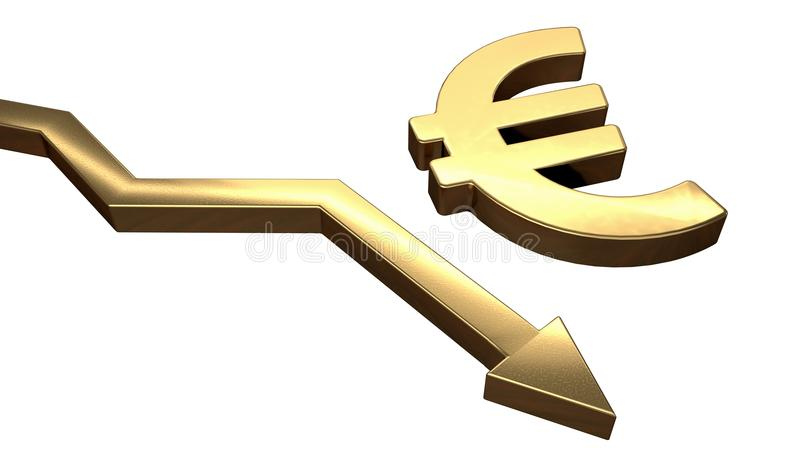 Golden EURO symbol and arrow down. Isolated on white background. 3D rendered illustration.  royalty free illustration