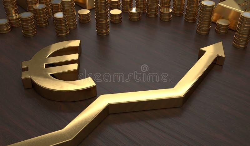 Golden EURO symbol and arrow up. 3D rendered illustration.  stock illustration