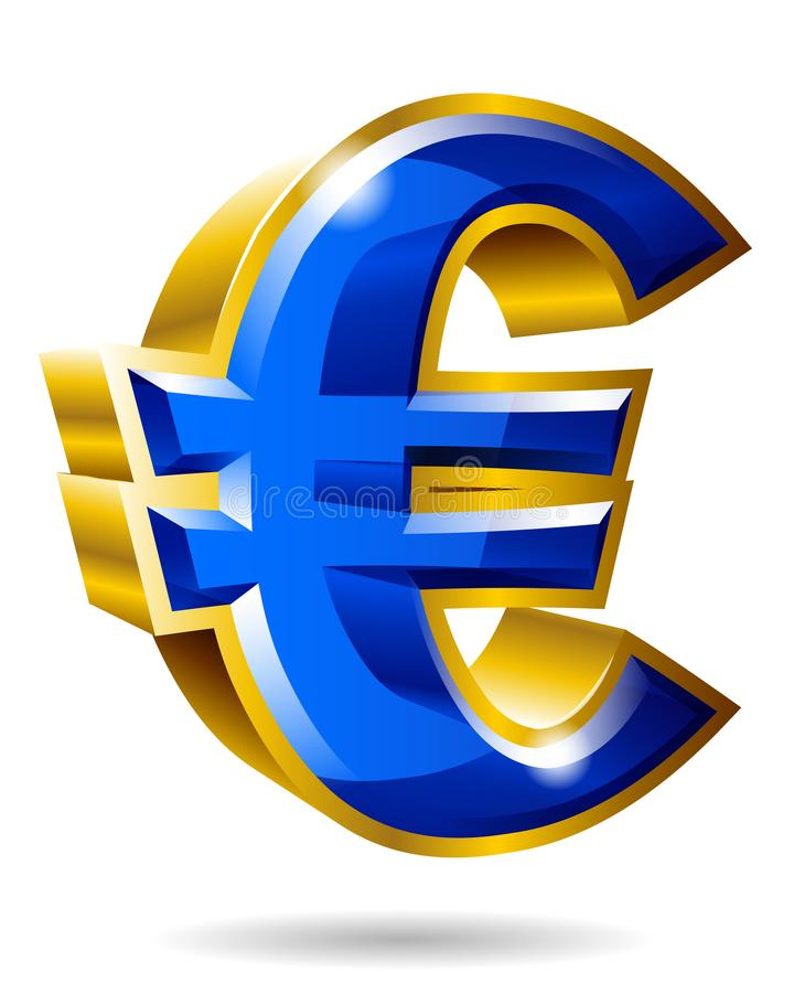 Golden euro symbol in 3D style isolated on white background. Vector illustration. royalty free illustration