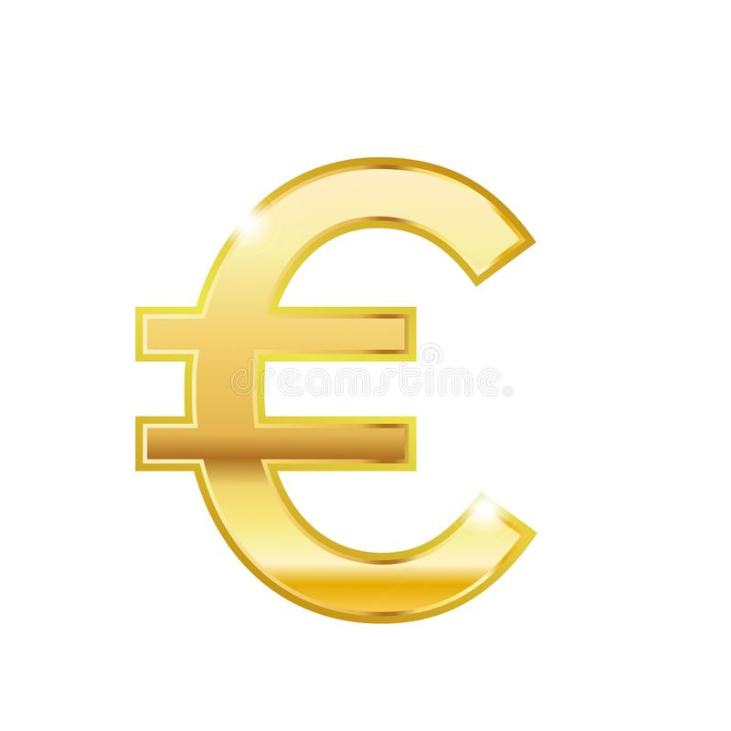 Shinny Gold Euro Trendy 3d Style Vector Icon Golden Euro Currency