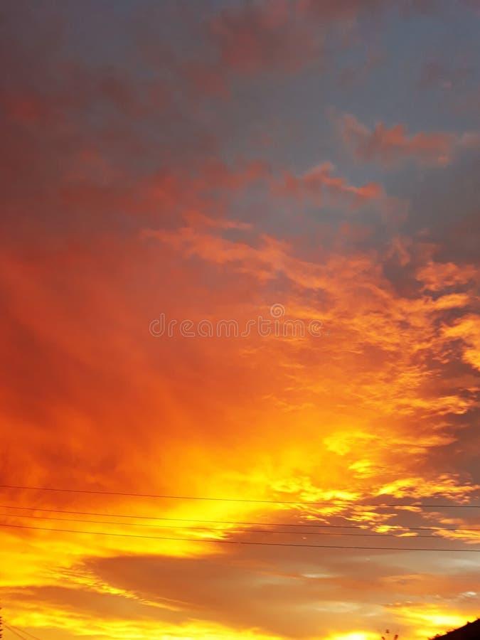 Golden evening sun set stock photo