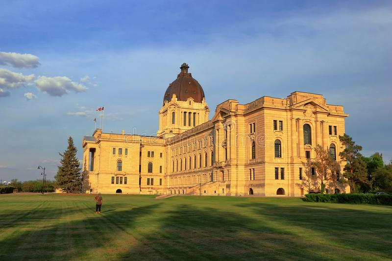 Golden Evening Sun Shining on Imposing Provincial Legislative Building in Regina, Saskatchewan, Canada stock image