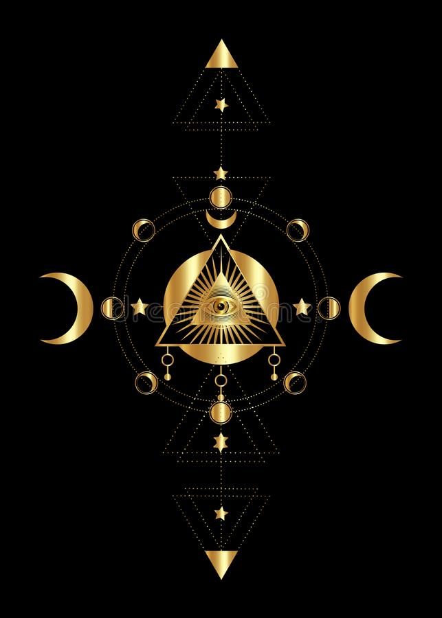 Gold Eye of Providence. Masonic symbol. All seeing eye inside triple moon pagan Wicca moon goddess symbol. Vector illustration stock illustration