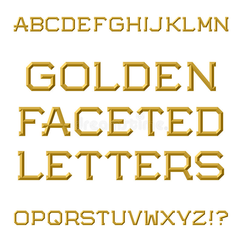 Download Golden Faceted Capital Letters Trendy And Stylish Font Isolate Stock Vector