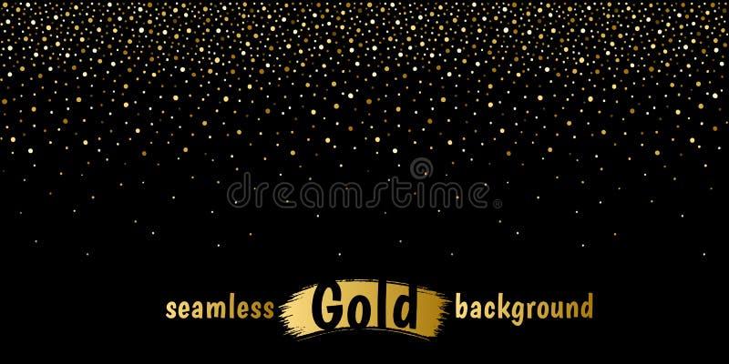 Golden fading dots, glitter, spangle, sparkles border. Golden hand drawn fading dots frame, long border seamless in horizontal direction. Gold glitter, foil stock illustration