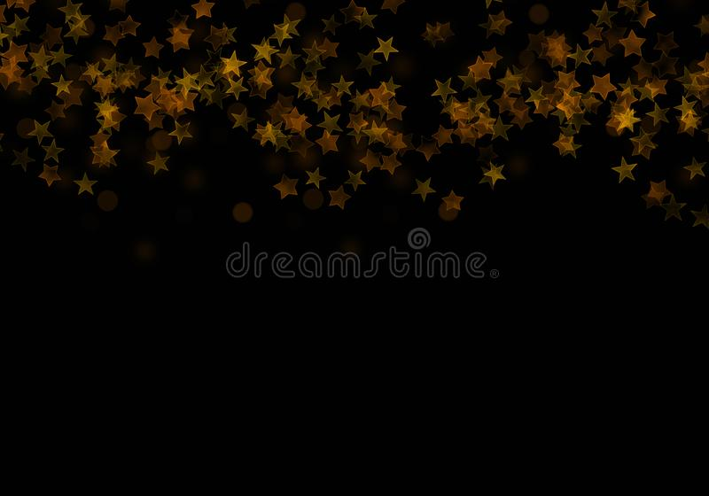 Golden falling stars, sparkle elements of glitter. Flying confetti, sparkles on dark background. Party starburst scatter pattern vector illustration