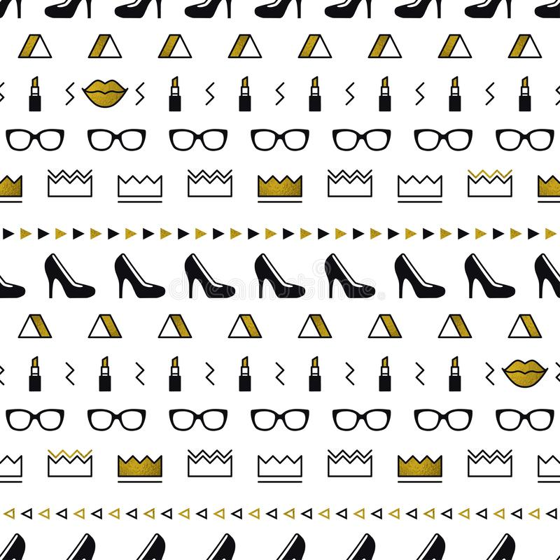 Golden fashion accessories pattern with black high heel shoes, lips, lipstick, gold crown, sunglasses in memphis style. Minimal design. Beauty background for royalty free illustration