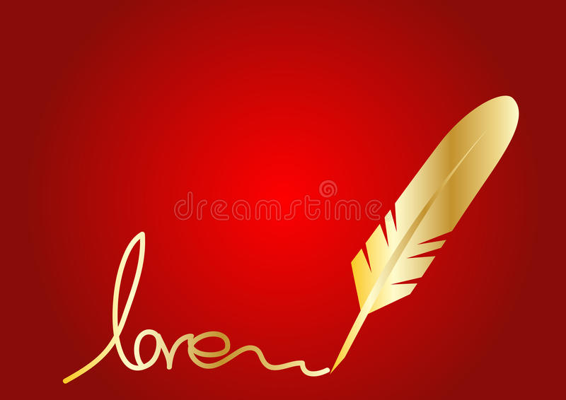 Golden Feather quill vector illustration