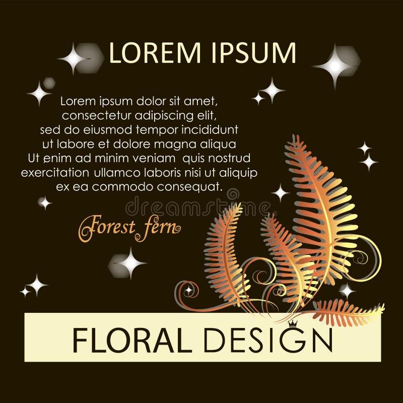 Golden fern. Flowering forest fern at night. stock illustration