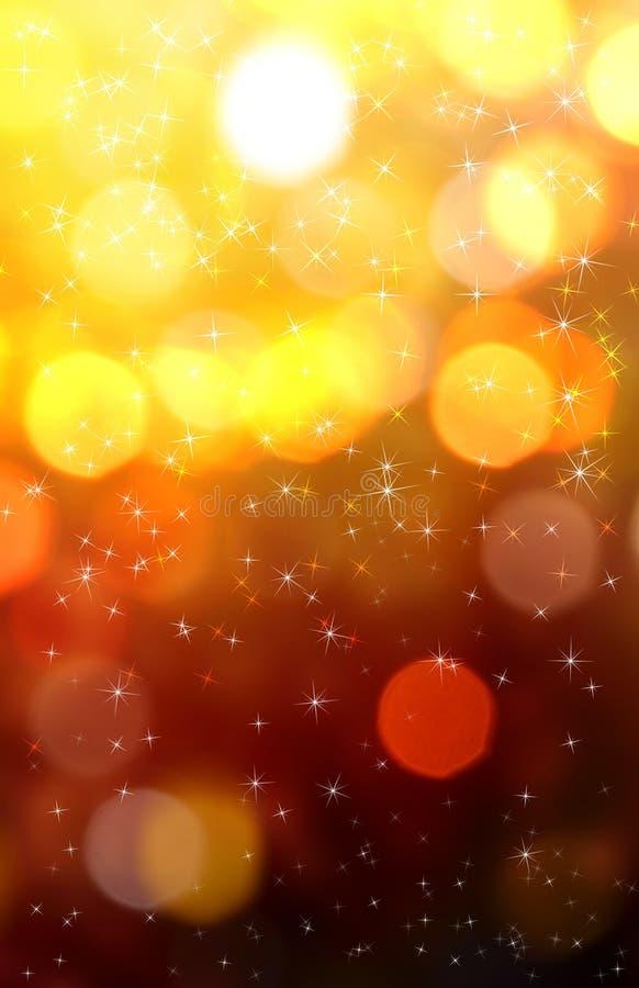 Golden festive lights background. stock image
