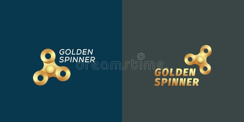 Golden Fidget Spinners Abstract Vector Sign, Emblem or Logo Templates. Infinite Loop Spinner Creative Concept. On Dark. Background stock illustration