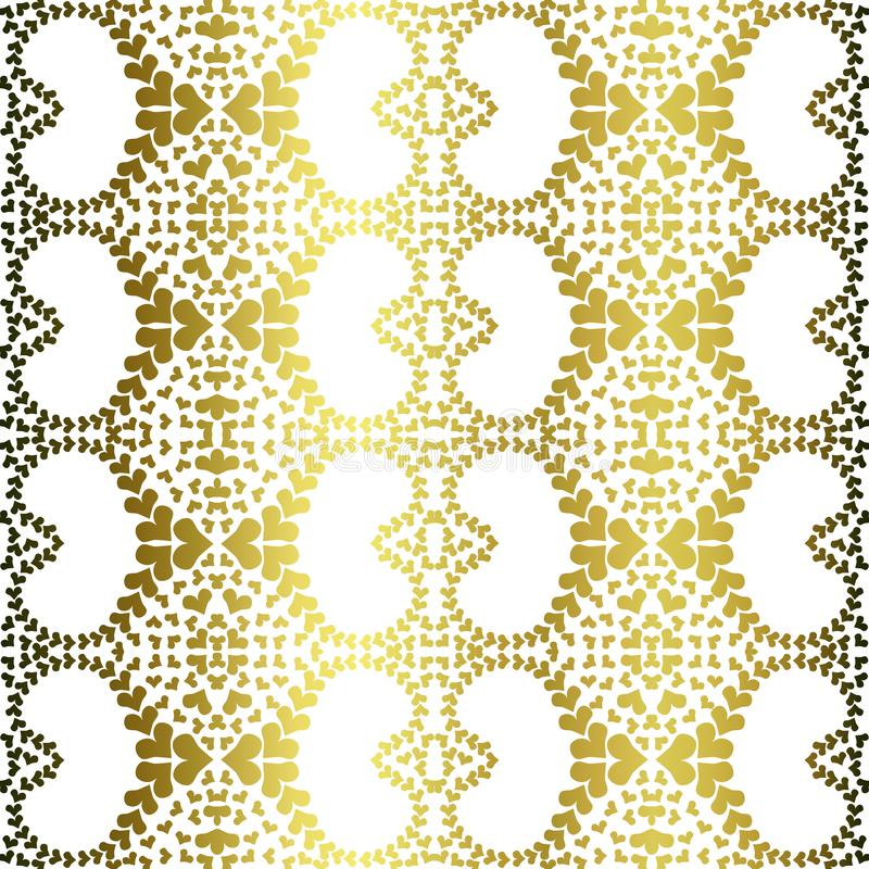 Golden filigree hearts seamless pattern. Abstract golden filigree hearts texture seamless background. Antique gold optical effect stock illustration