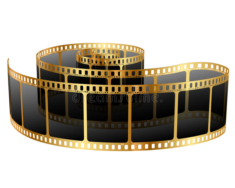 Golden film strip royalty free illustration