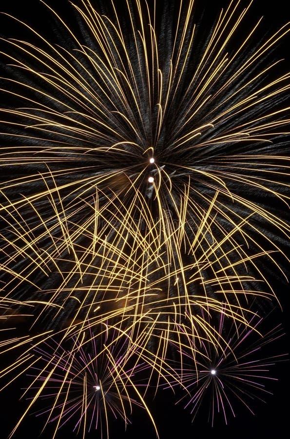 Golden Firework Burst stock photo
