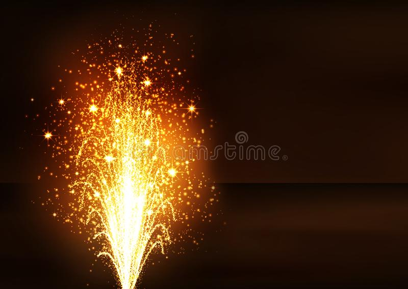 Golden Firework Volcano Fountain - New Years Eve. Golden Fountain - Firework Volcano Emitting Sparks. Flyer Template with Dark Brown Background - New Years Eve stock illustration