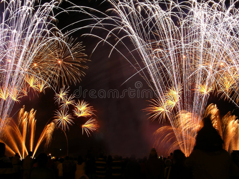 Golden Fireworks. In a fireworks show stock photo