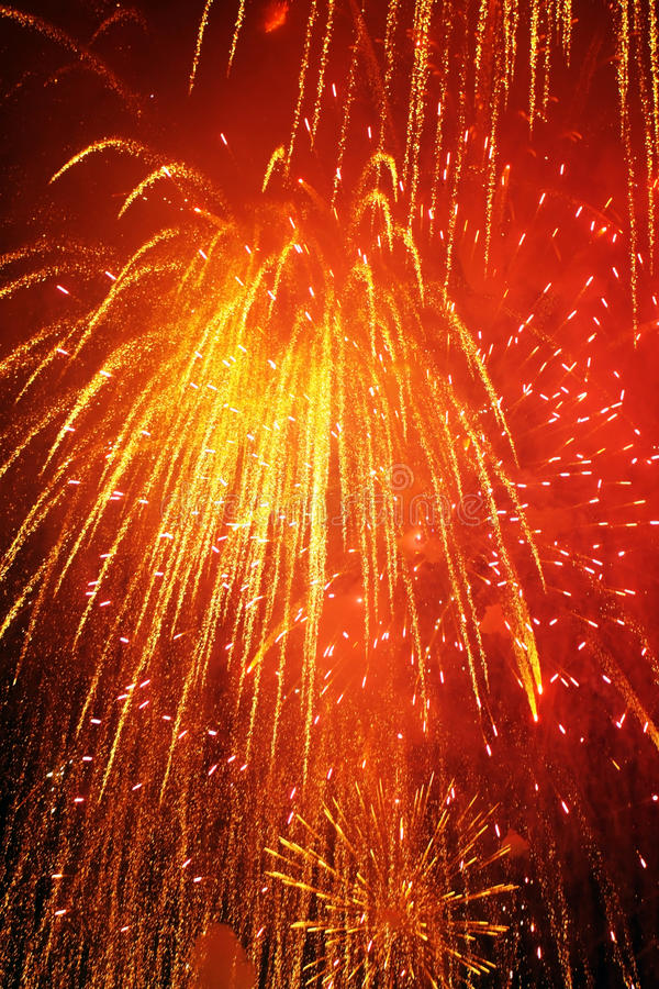 GOLDEN FIREWORKS royalty free stock images