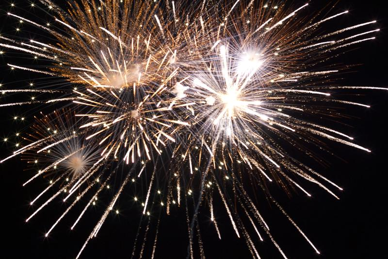 Golden fireworks close up stock photo