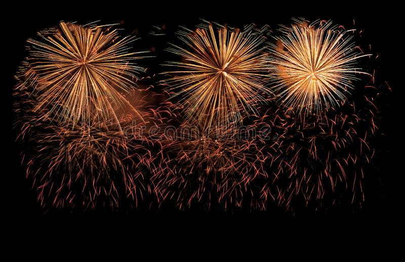 Golden fireworks explosion in annual festival royalty free stock photo