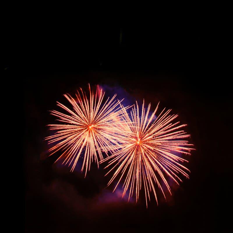 Golden fireworks show stock image