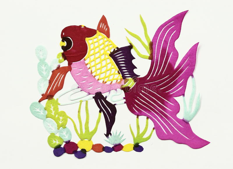 Golden fish. Paper-cut of golden fish stock images