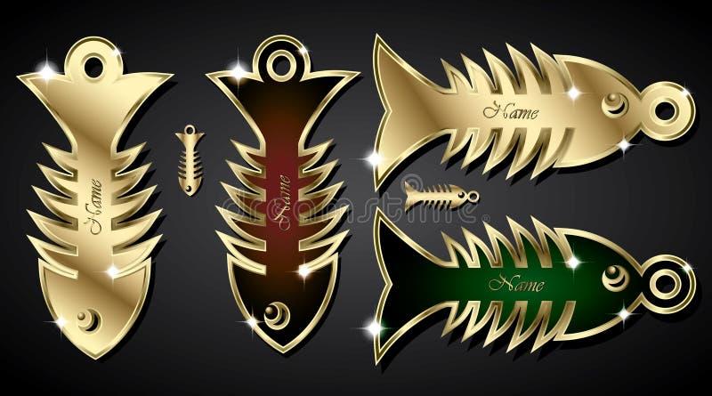 Golden fish bone pendant stock illustration