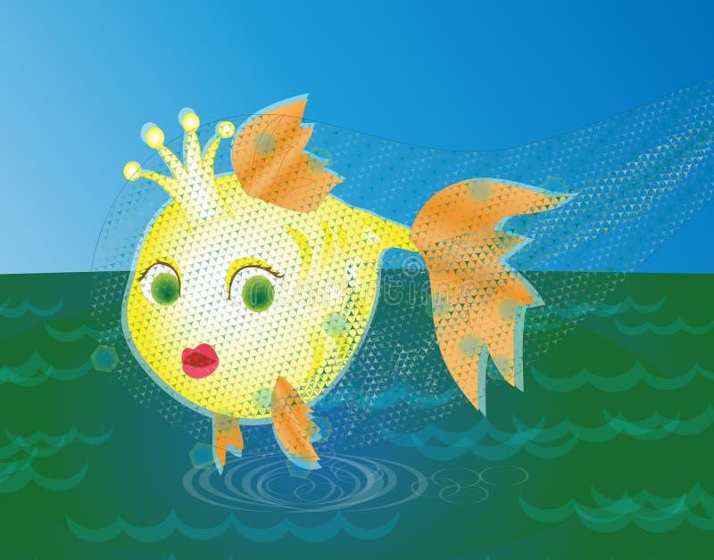 Download Golden Fish Caught In A Net Stock Illustration - Illustration: 26988025
