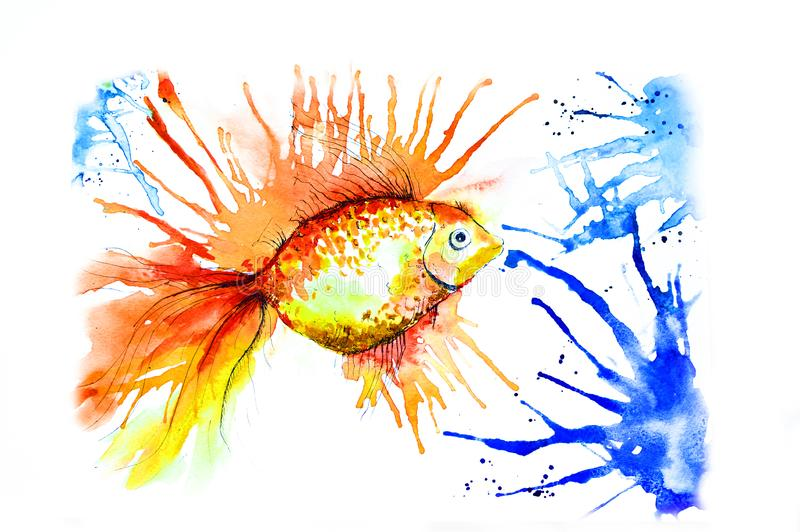 Golden fish painted with watercolor with colorful elements on a white background. sideal for children`s clothing. Print vector illustration
