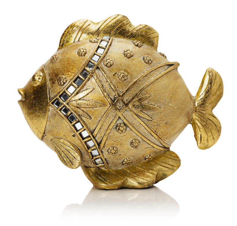 Free Golden Fish Sculpture On The White Background Royalty Free Stock Images - 45013919