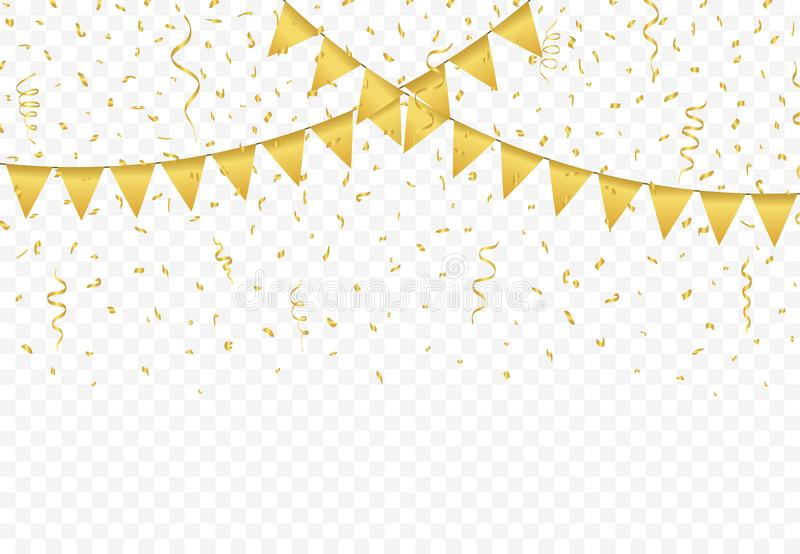 Golden Flags with Confetti background vector royalty free illustration
