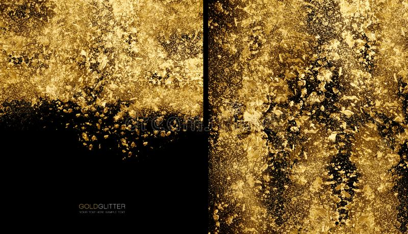 Golden flakes background concept. Scattered gold glitter powder on black royalty free stock images