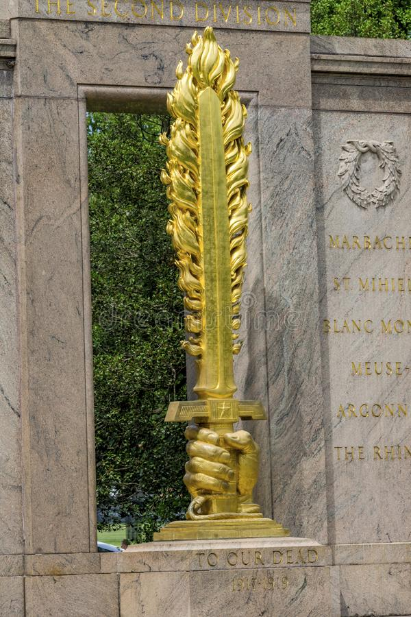 Golden Flaming Sword Second Division Memorial Presidential Park Washington DC. Memorial was dedicated 1936. Flaming sword emphasizes defense of Paris from stock images
