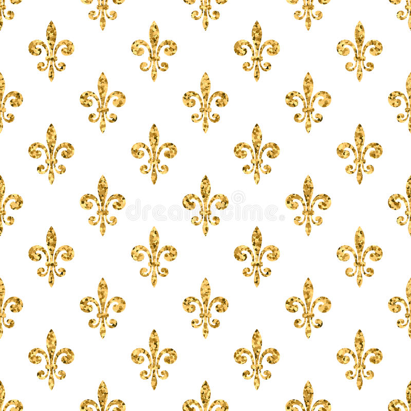Golden fleur-de-lis seamless pattern white 1 royalty free illustration