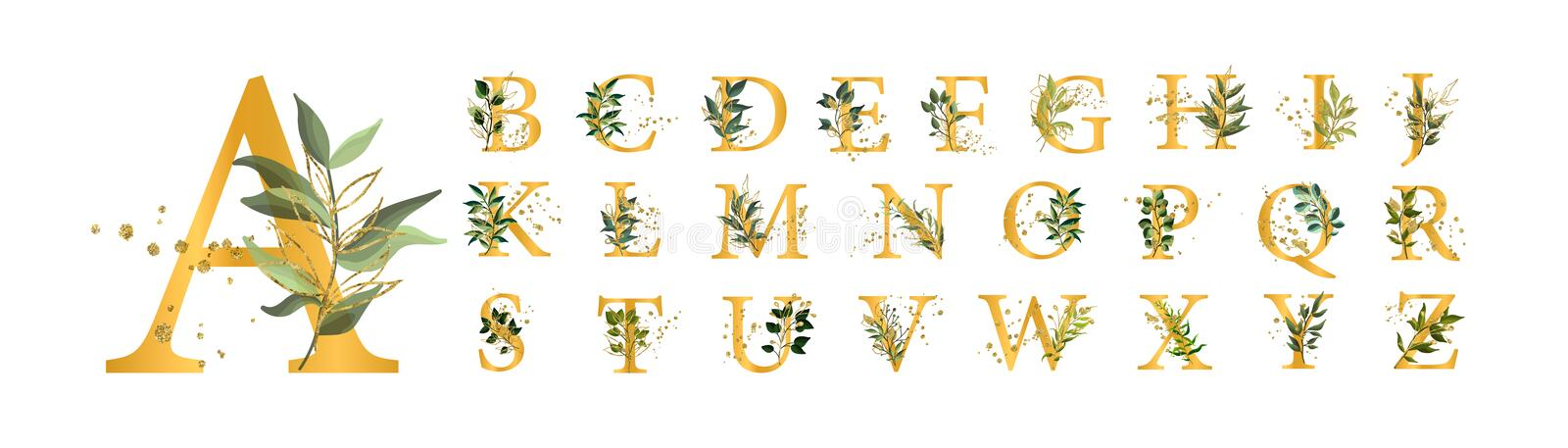 Golden floral alphabet font uppercase letters with flowers leaves gold splatters royalty free illustration