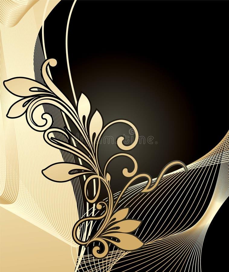 Golden floral background royalty free illustration
