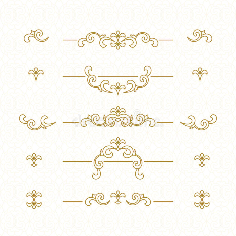 Golden floral borders. stock photo