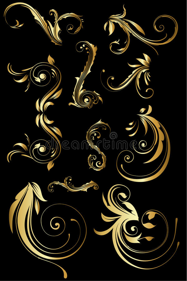 Golden floral design. Isolated elements on black available as vector-eps and jpg file vector illustration